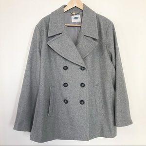 Old Navy wool blend gray pea coat XXL